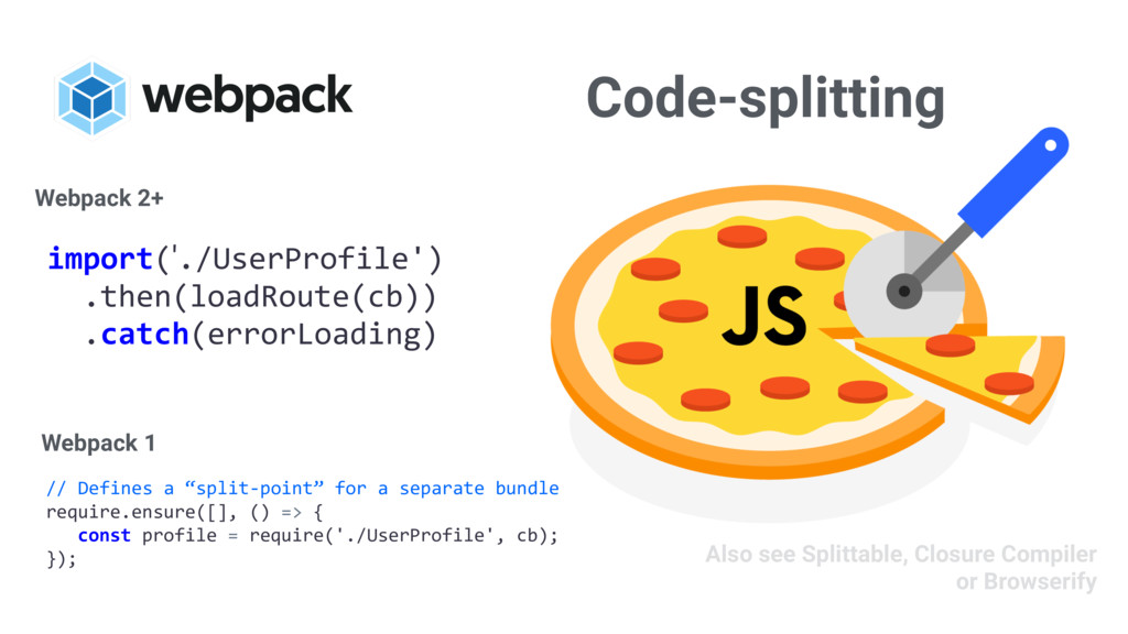 "Code-splitting // Defines a ""split-point"" for a..."