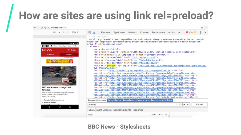 How are sites are using link rel=preload? BBC N...