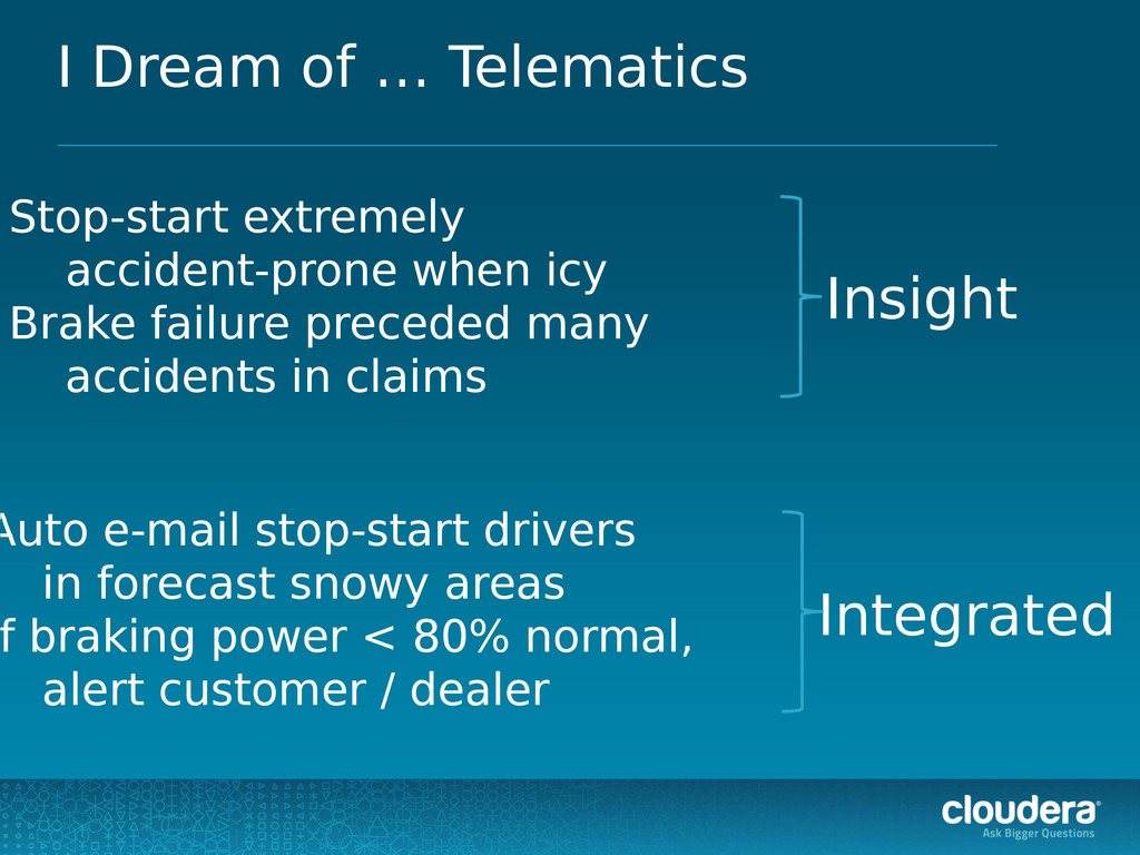 I Dream of … Telematics Stop-start extremely ac...