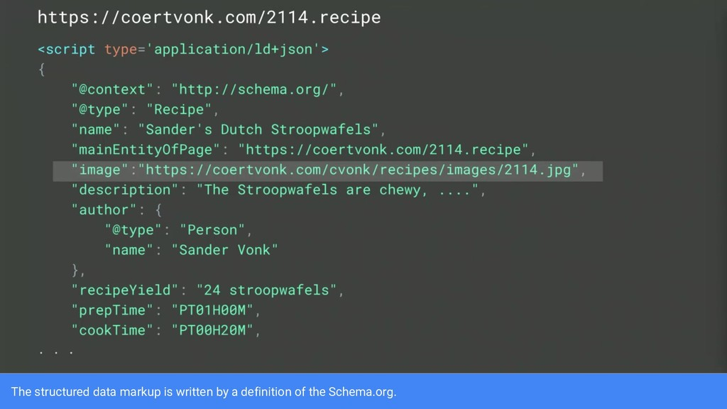 The structured data markup is written by a defi...