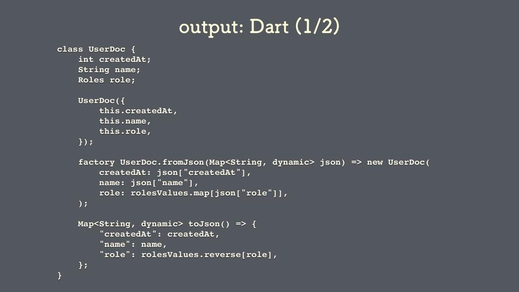 class UserDoc { int createdAt; String name; Rol...