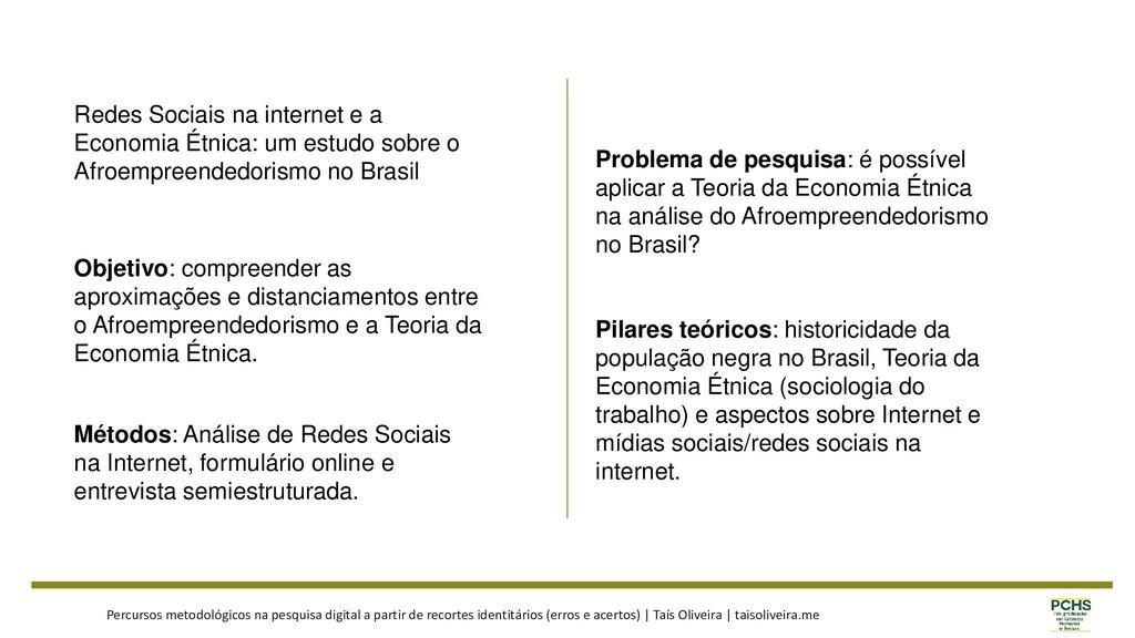 Redes Sociais na internet e a Economia Étnica: ...