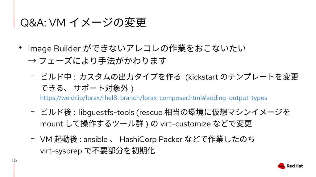 15 Q&A: VM イメージの変更 ● Image Builder ができないアレコレの作業...