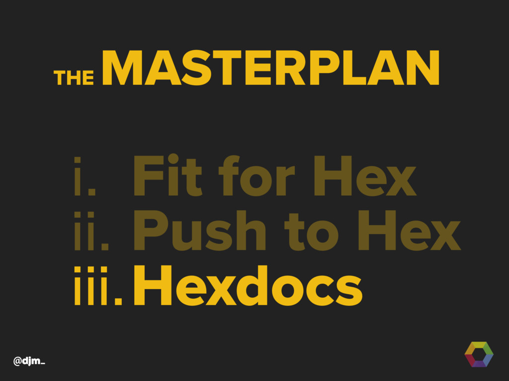 @djm_ i. Fit for Hex ii. Push to Hex iii.Hexdoc...