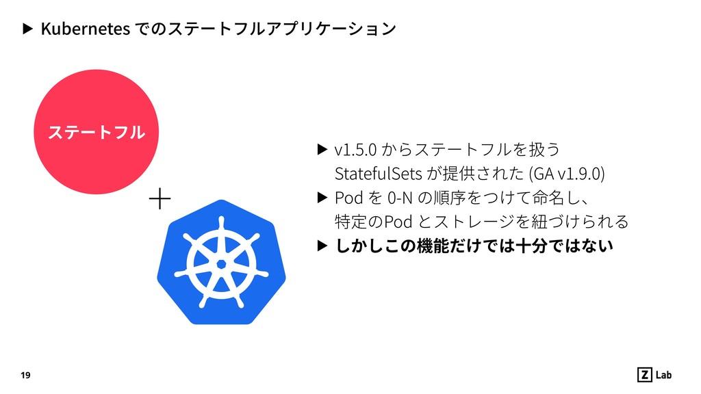 ステートフル ▶ Kubernetes でのステートフルアプリケーション 19 ▶ v1.5....
