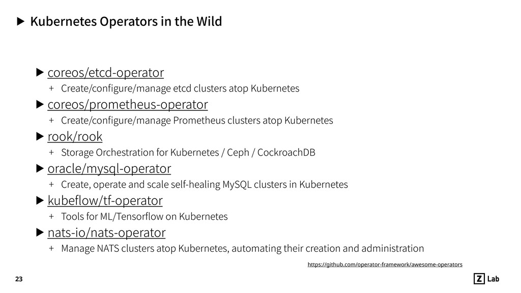 ▶ Kubernetes Operators in the Wild ▶ coreos/etc...