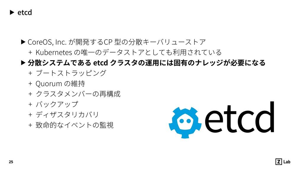 ▶ etcd ▶ CoreOS, Inc. が開発するCP 型の分散キーバリューストア + K...