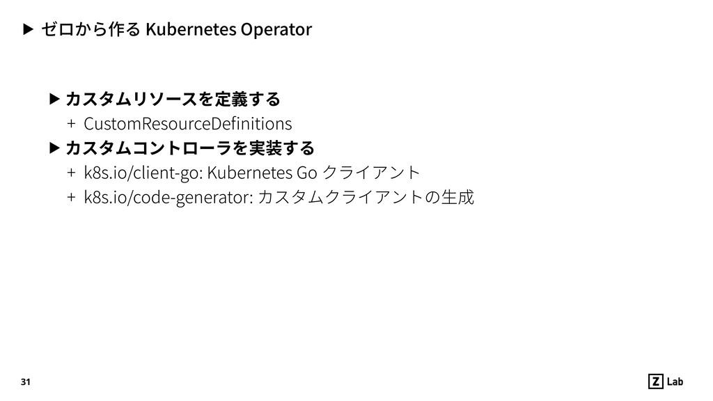 ▶ ゼロから作る Kubernetes Operator ▶ カスタムリソースを定義する + ...