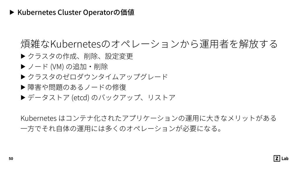 ▶ Kubernetes Cluster Operatorの価値 煩雑なKubernetesの...