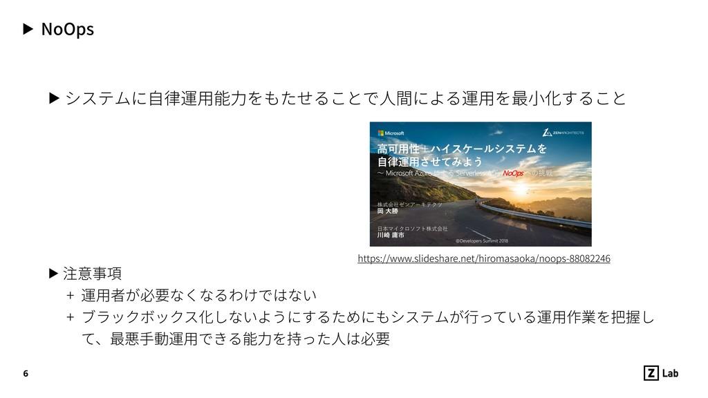 ▶ NoOps ▶ システムに⾃律運⽤能⼒をもたせることで⼈間による運⽤を最⼩化すること ▶ ...