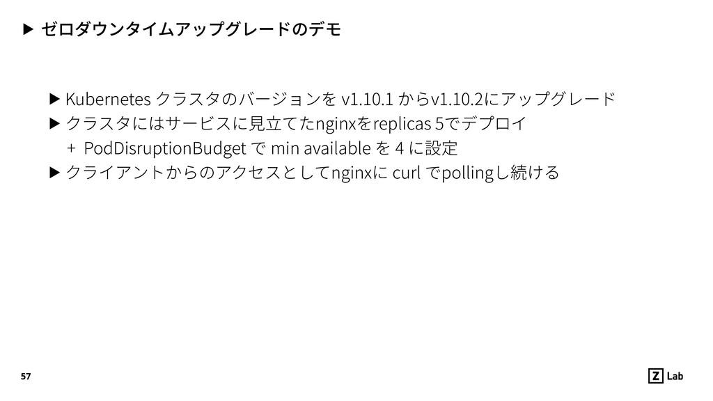 ▶ ゼロダウンタイムアップグレードのデモ ▶ Kubernetes クラスタのバージョンを v...