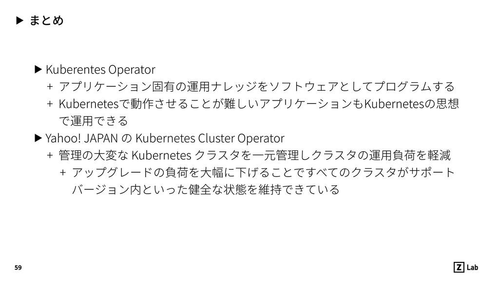 ▶ まとめ ▶ Kuberentes Operator + アプリケーション固有の運⽤ナレッジ...