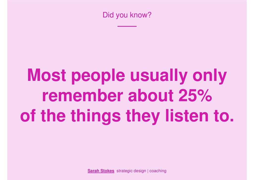 Did you know? Sarah Stokes strategic design | c...