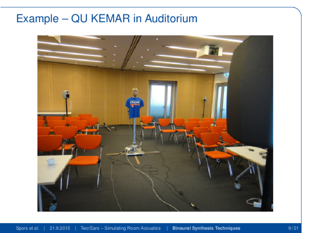 Example – QU KEMAR in Auditorium Spors et al. |...