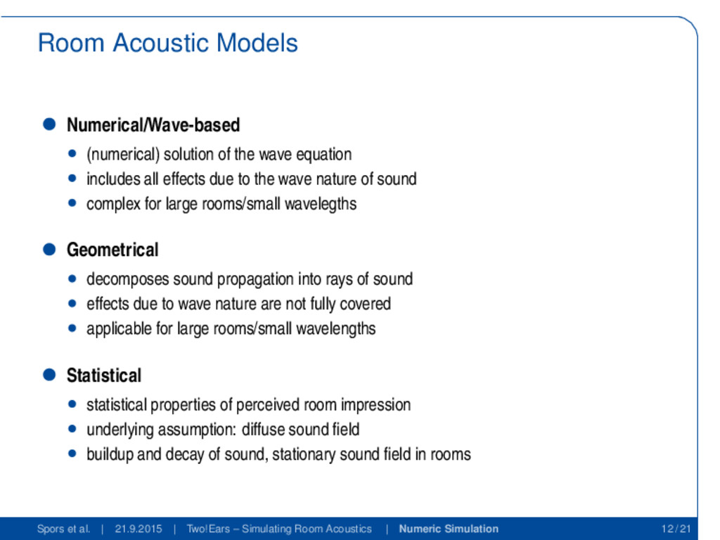 Room Acoustic Models Numerical/Wave-based (nume...