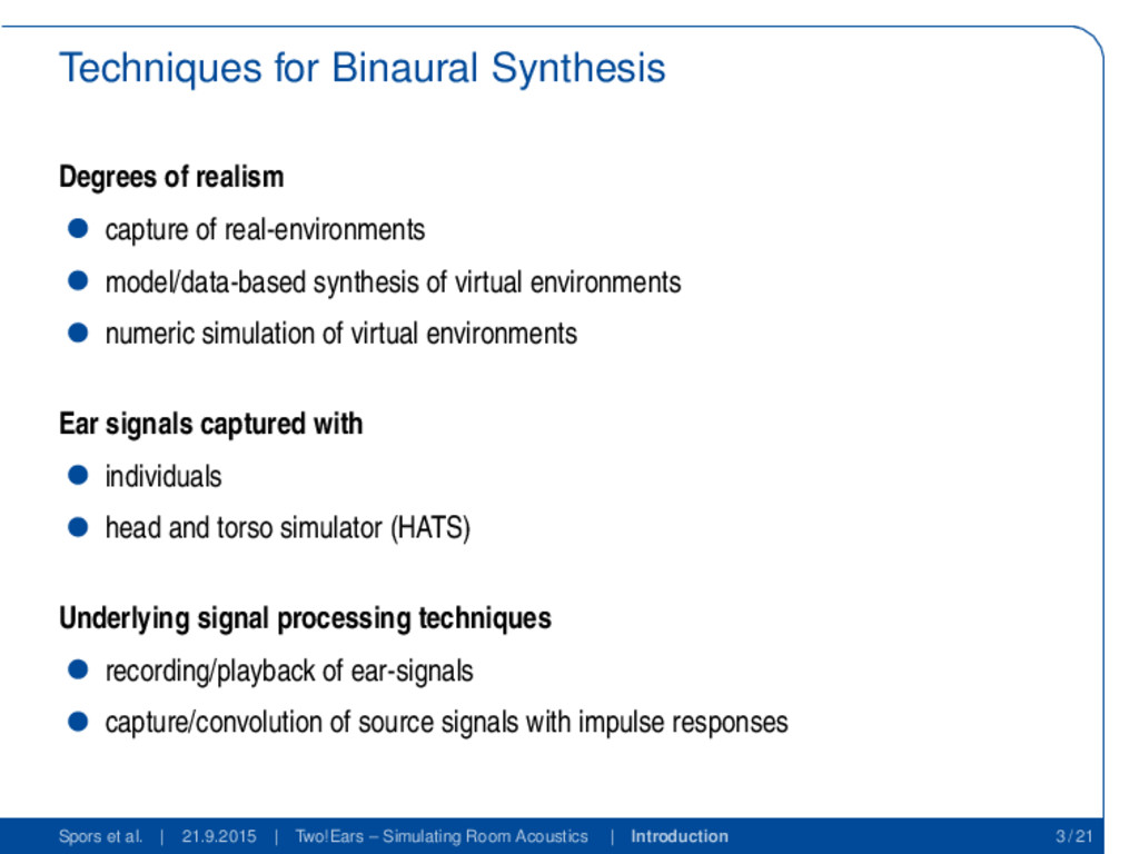 Techniques for Binaural Synthesis Degrees of re...