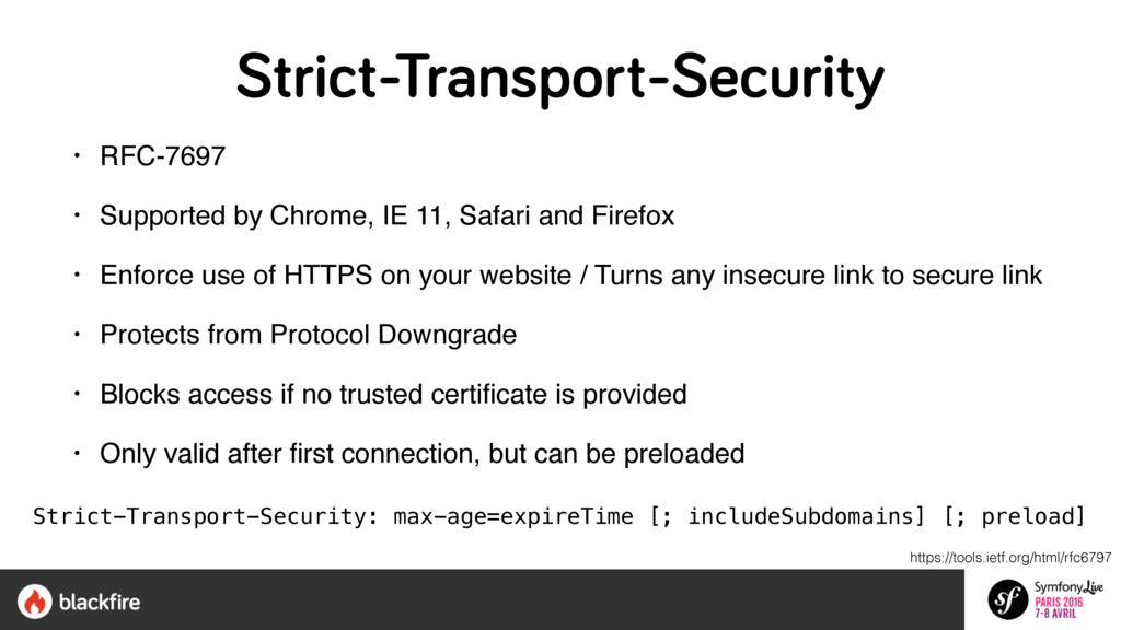 Strict-Transport-Security • RFC-7697 • Supporte...