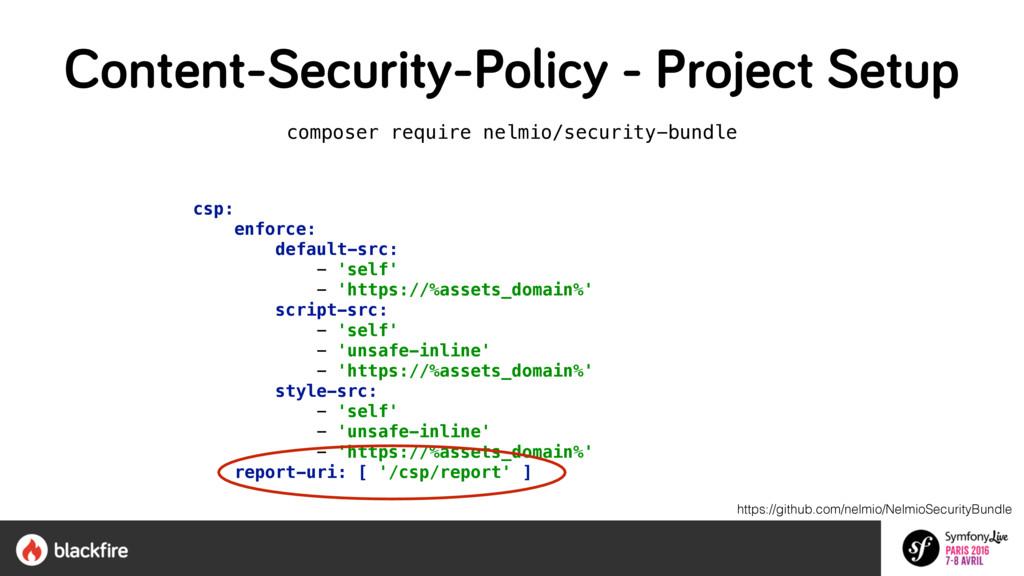 composer require nelmio/security-bundle csp: en...