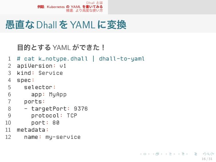 Dhall とは 例題: Kubernetes の YAML を書いてみる 補遺: より高度な...