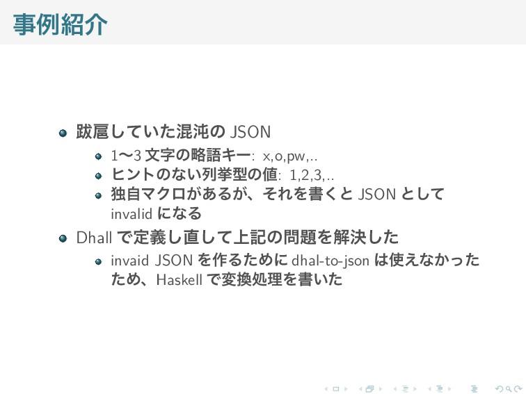 事例紹介 跋扈していた混沌の JSON 1〜3 文字の略語キー: x,o,pw,.. ヒントの...