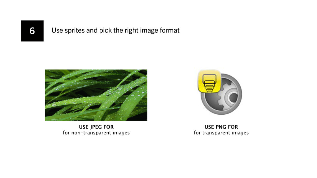 6 Use sprites and pick the right image format U...