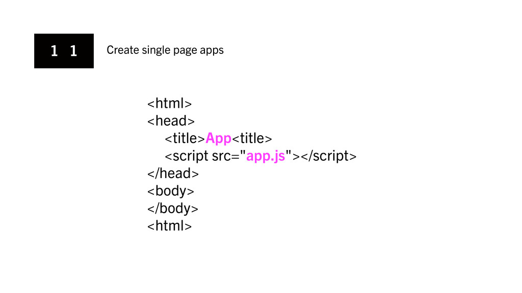 1 1 Create single page apps <html> <head> <titl...