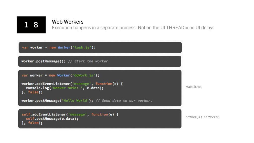 1 8 Web Workers Execution happens in a separate...