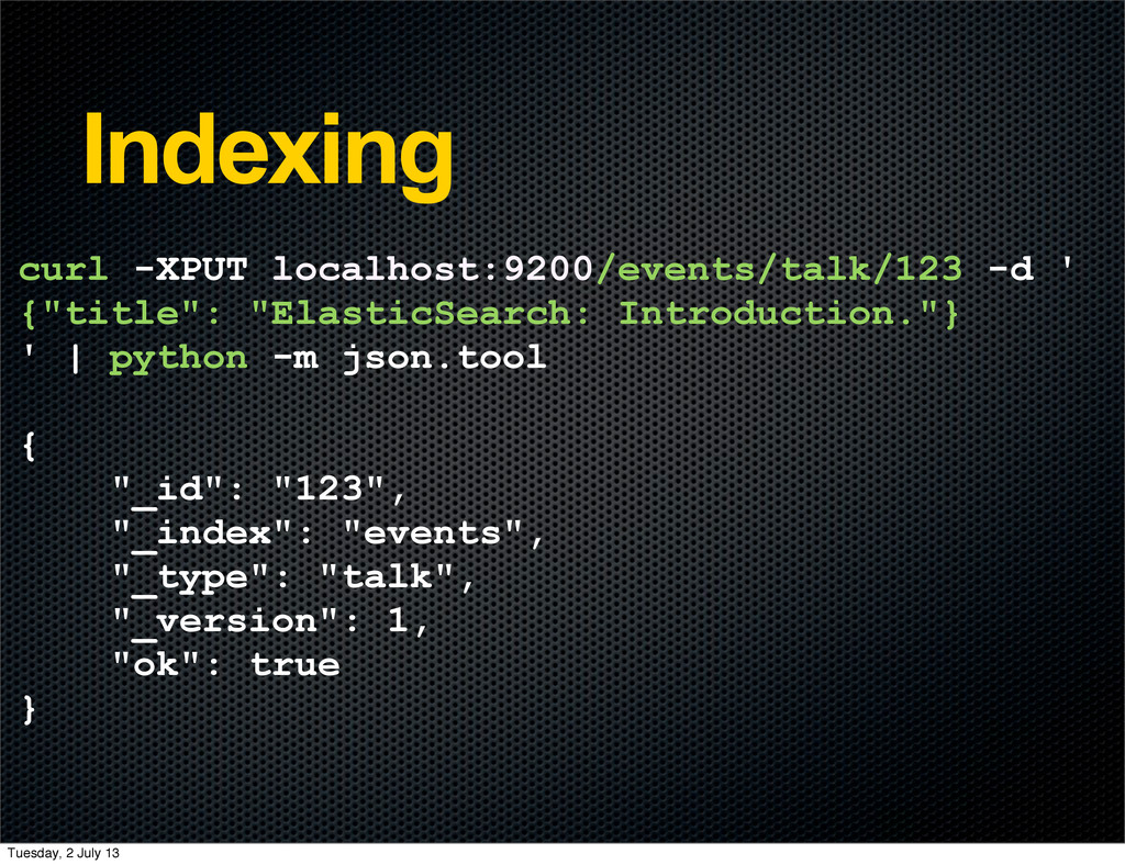 Indexing curl -XPUT localhost:9200/events/talk/...