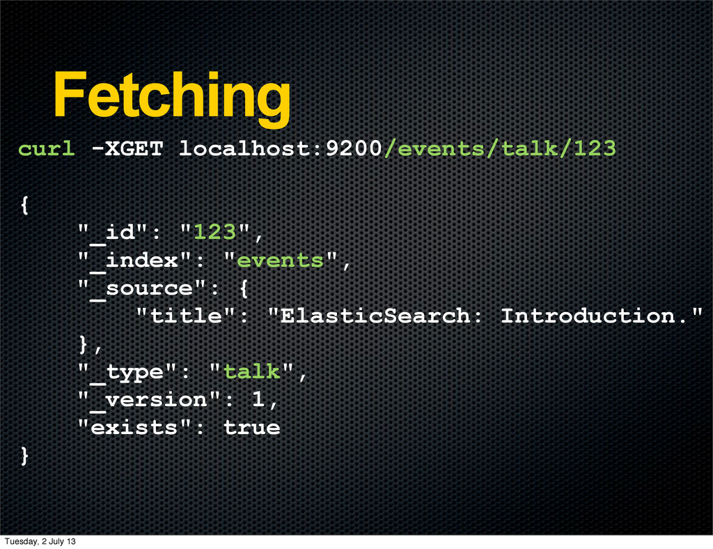 Fetching curl -XGET localhost:9200/events/talk/...