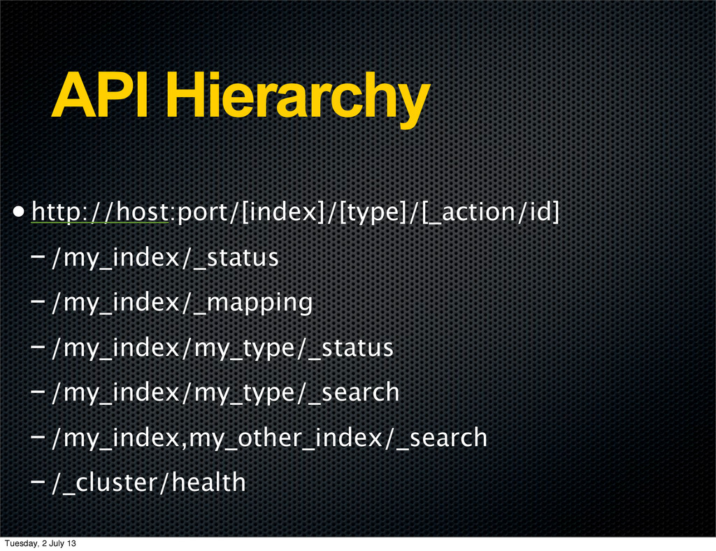 API Hierarchy •http://host:port/[index]/[type]/...
