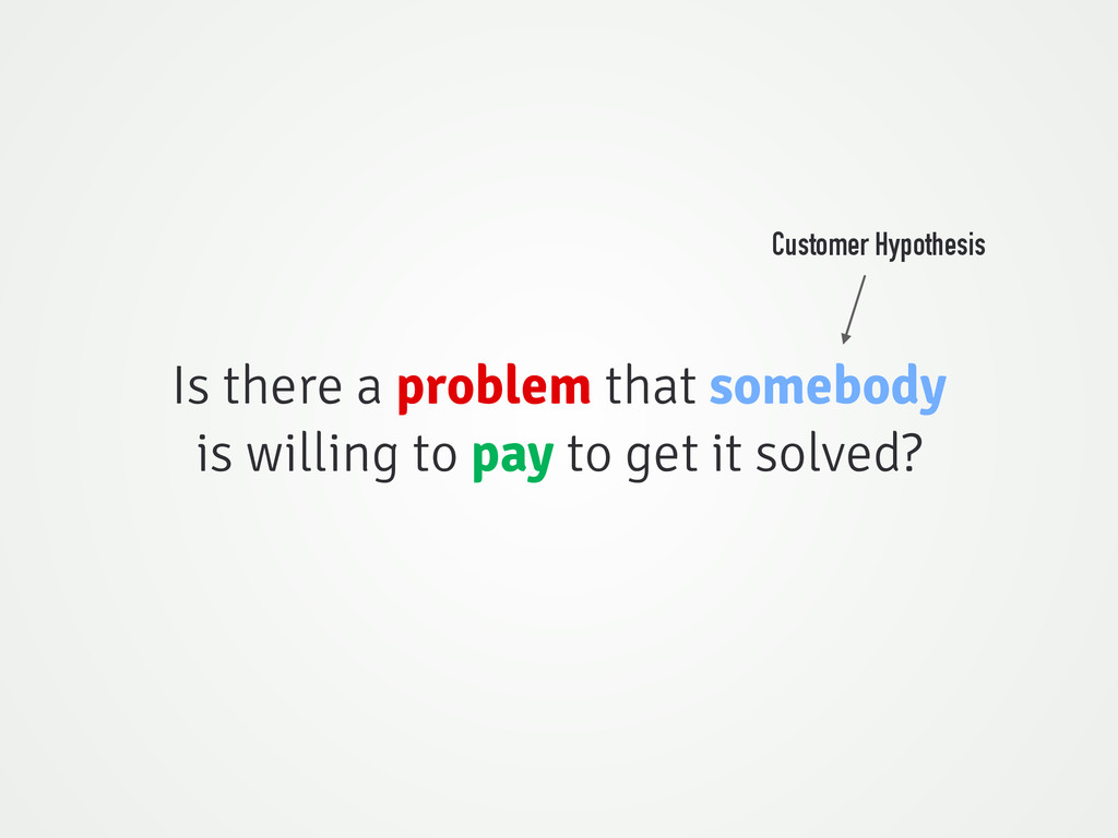 Is there a problem that somebody is willing to ...