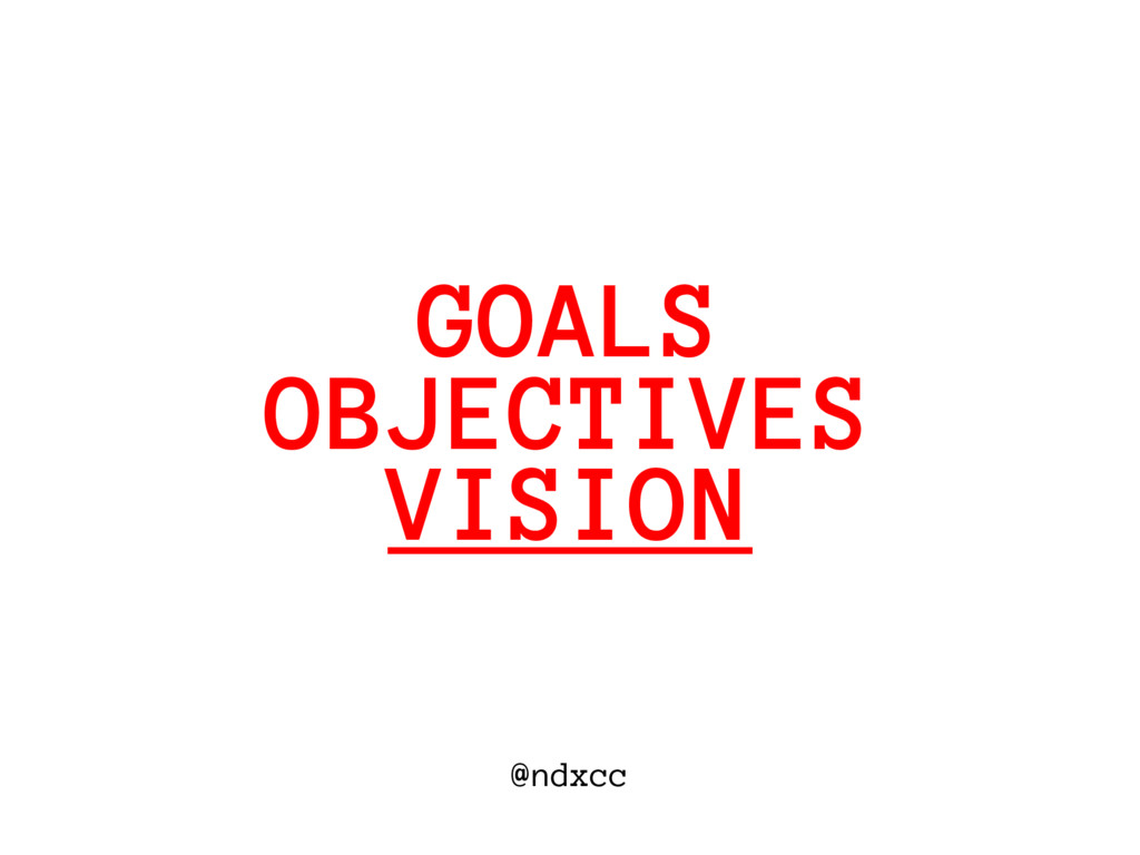 @ndxcc OBJECTIVES GOALS VISION