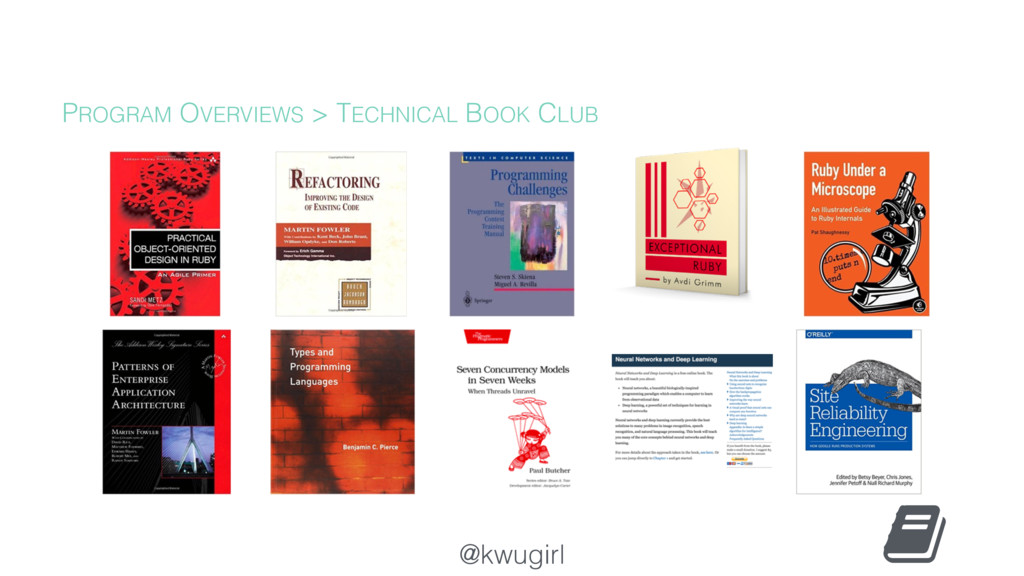 @kwugirl PROGRAM OVERVIEWS > TECHNICAL BOOK CLUB
