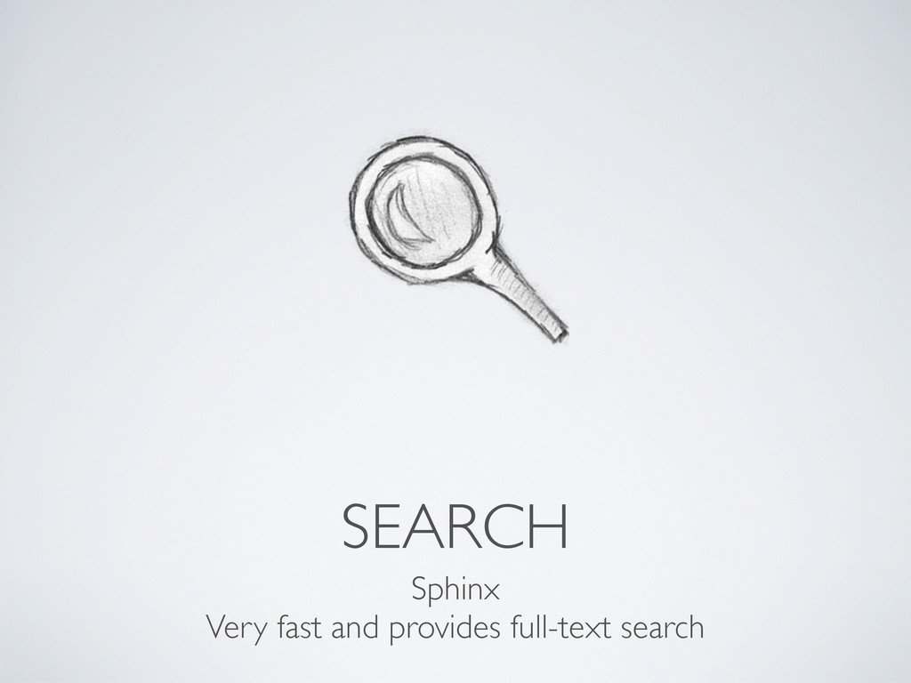 SEARCH Sphinx Very fast and provides full-text ...
