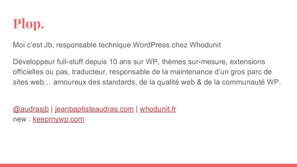 Plop. Moi c'est Jb, responsable technique WordP...