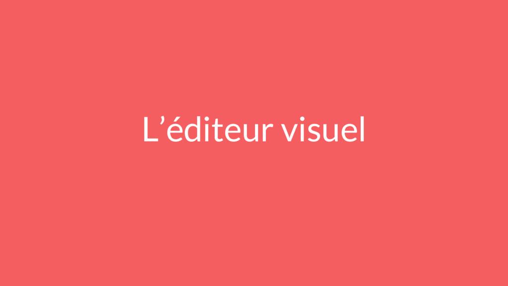 L'éditeur visuel