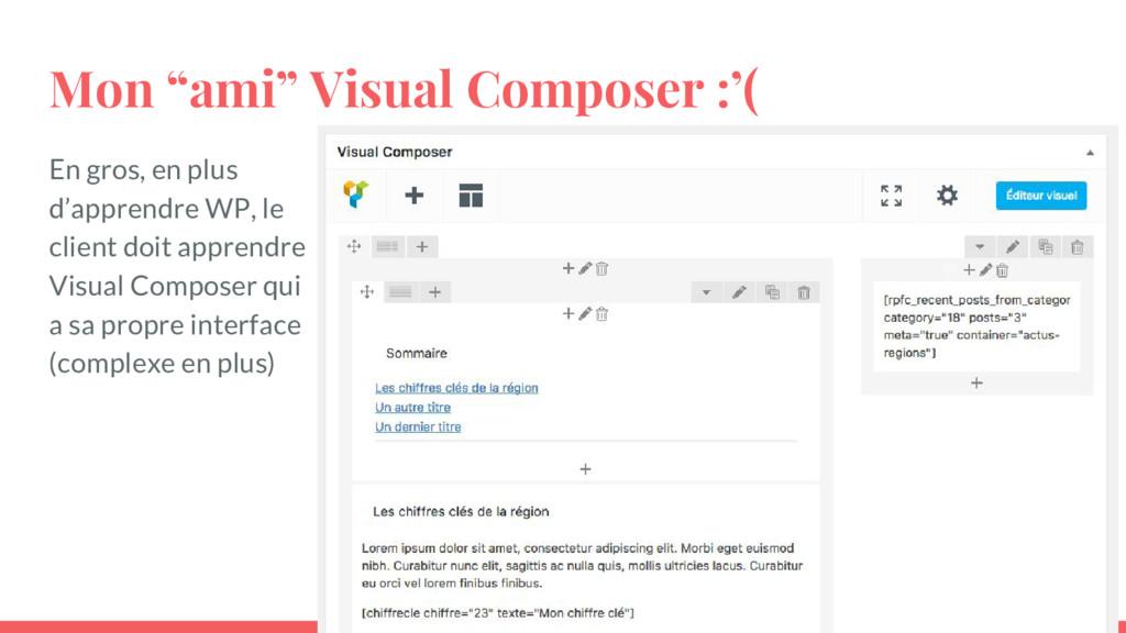 """Mon """"ami"""" Visual Composer :'( En gros, en plus ..."""