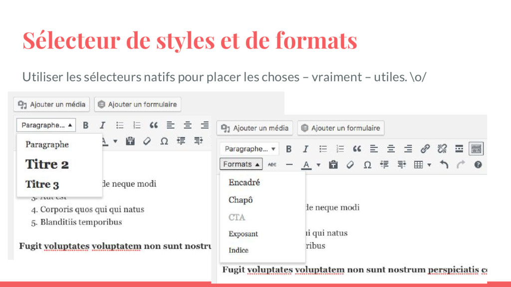 Sélecteur de styles et de formats Utiliser les ...