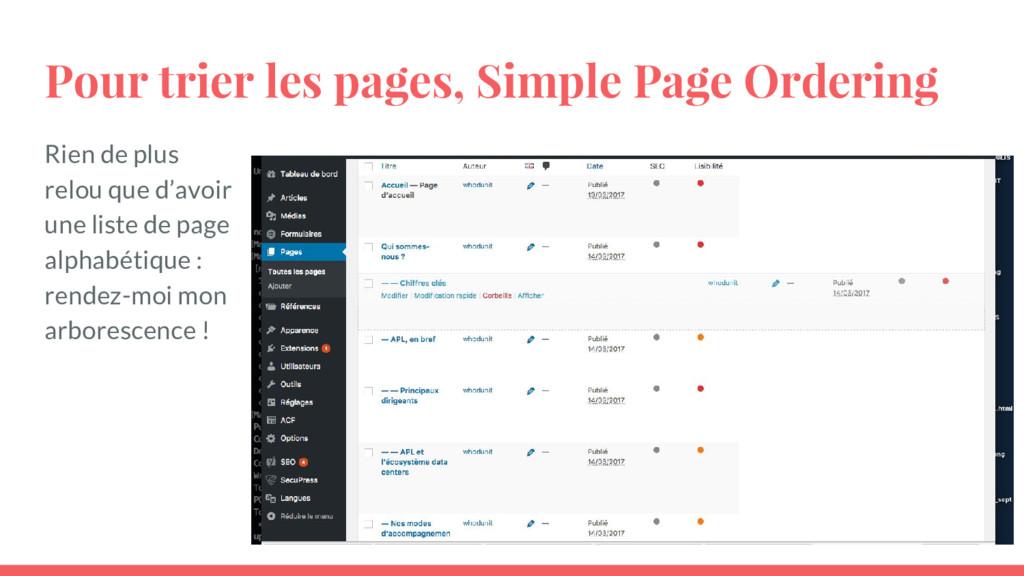 Pour trier les pages, Simple Page Ordering Rien...