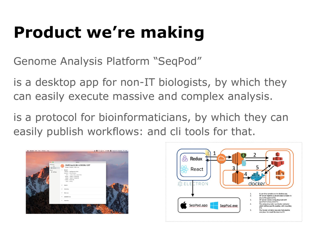 "Product we're making Genome Analysis Platform ""..."