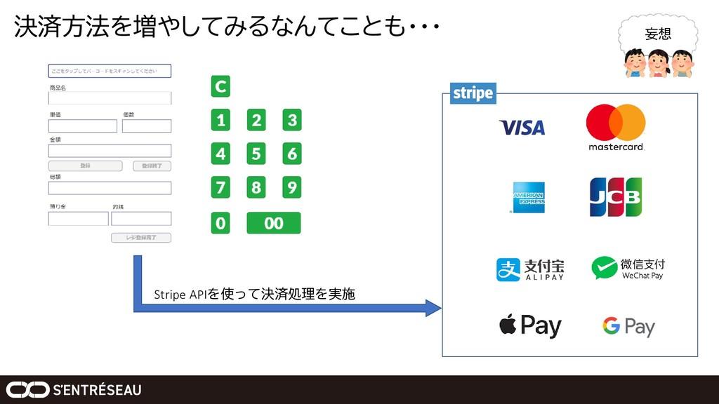 決済方法を増やしてみるなんてことも・・・ Stripe APIを使って決済処理を実施 妄想