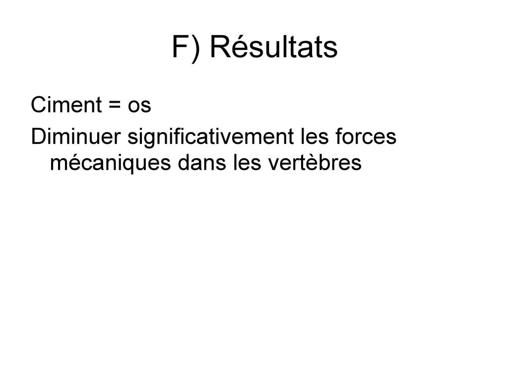 F) Résultats Ciment = os Diminuer significative...