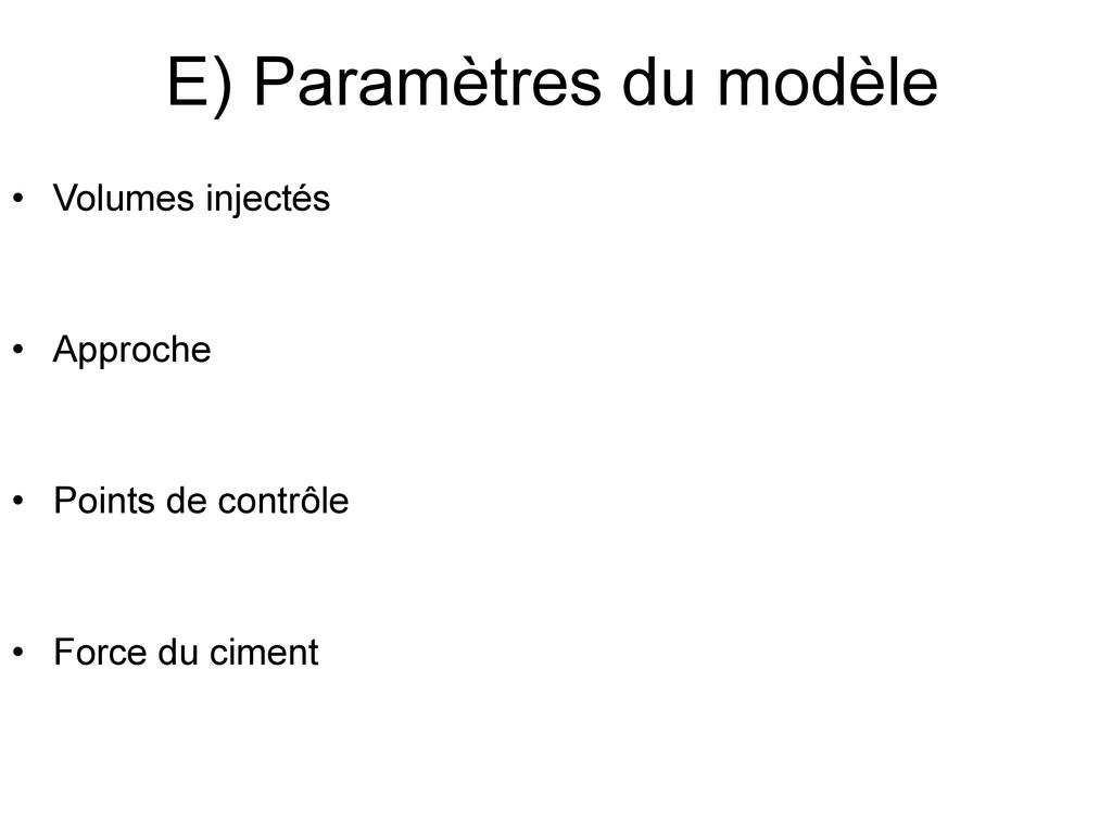 E) Paramètres du modèle • Volumes injectés • Ap...