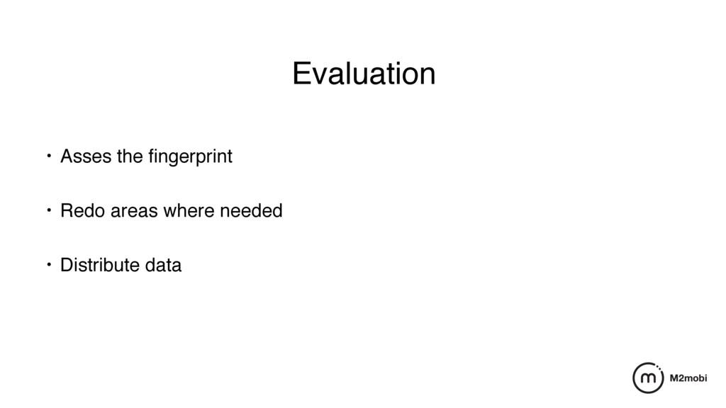 Evaluation • Asses the fingerprint • Redo areas ...