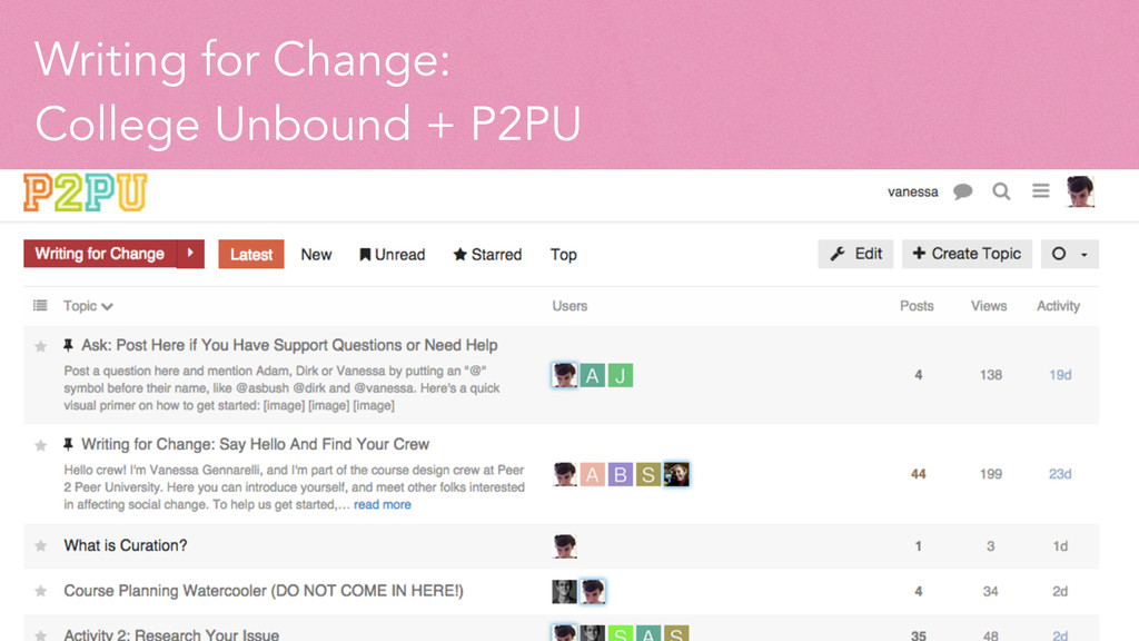 Writing for Change: College Unbound + P2PU