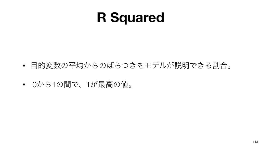 113 R Squared • తมͷฏۉ͔ΒͷΒ͖ͭΛϞσϧ͕આ໌Ͱ͖Δׂ߹ɻ • 0...