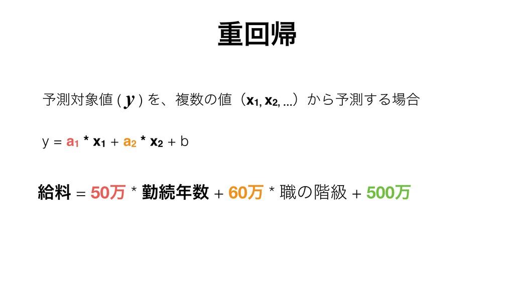 ༧ଌର ( y ) Λɺෳͷʢx1, x2, … ʣ͔Β༧ଌ͢Δ߹ y = a1 *...