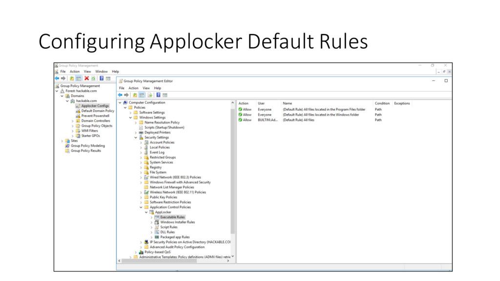 Configuring Applocker Default Rules