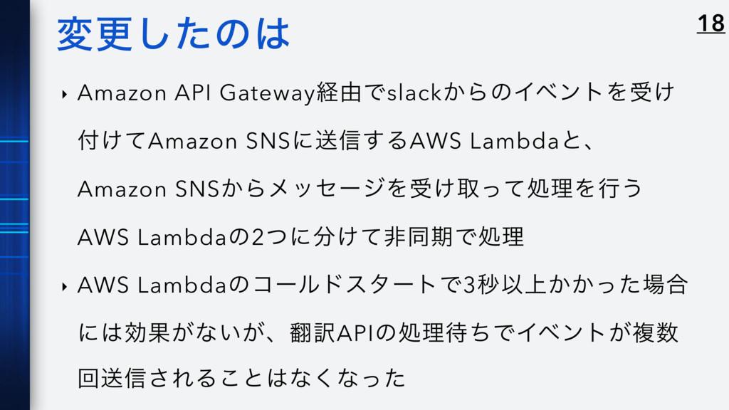 มߋͨ͠ͷ ‣ Amazon API Gatewayܦ༝Ͱslack͔ΒͷΠϕϯτΛड͚ ...