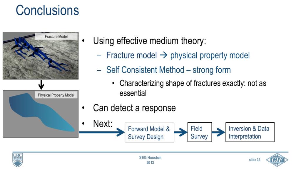 slide 33 SEG Houston 2013 Conclusions • Using ...
